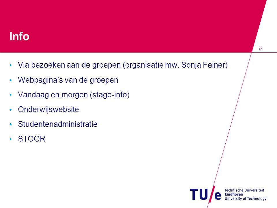 12 Info Via bezoeken aan de groepen (organisatie mw. Sonja Feiner) Webpagina's van de groepen Vandaag en morgen (stage-info) Onderwijswebsite Studente