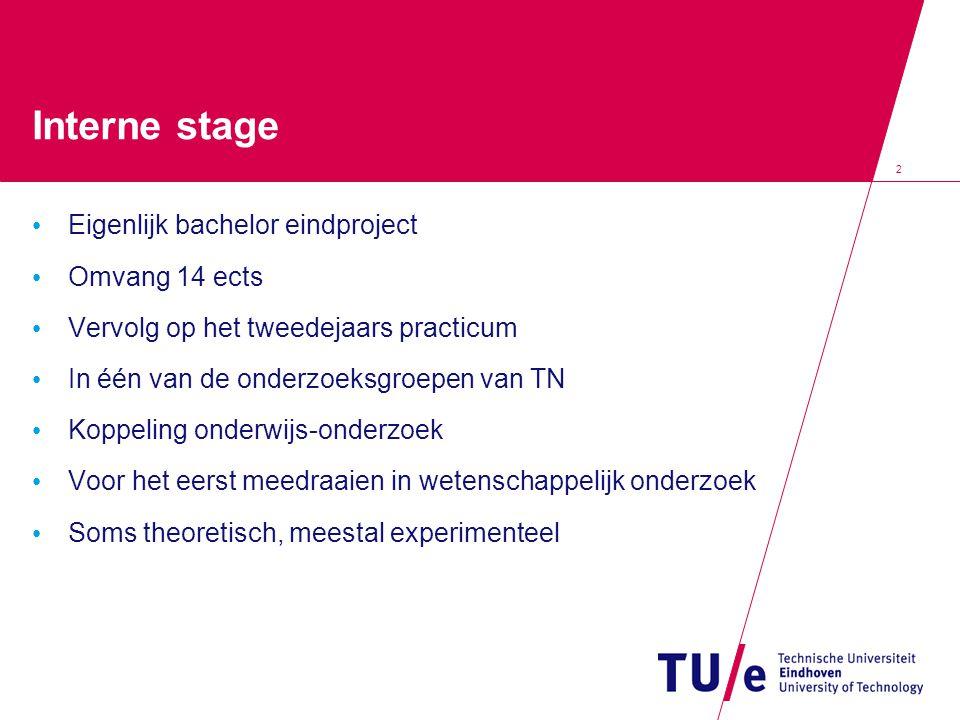 2 Interne stage Eigenlijk bachelor eindproject Omvang 14 ects Vervolg op het tweedejaars practicum In één van de onderzoeksgroepen van TN Koppeling on