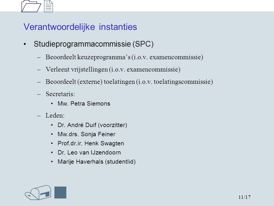 1212 /n 11/17 Verantwoordelijke instanties Studieprogrammacommissie (SPC) –Beoordeelt keuzeprogramma's (i.o.v.