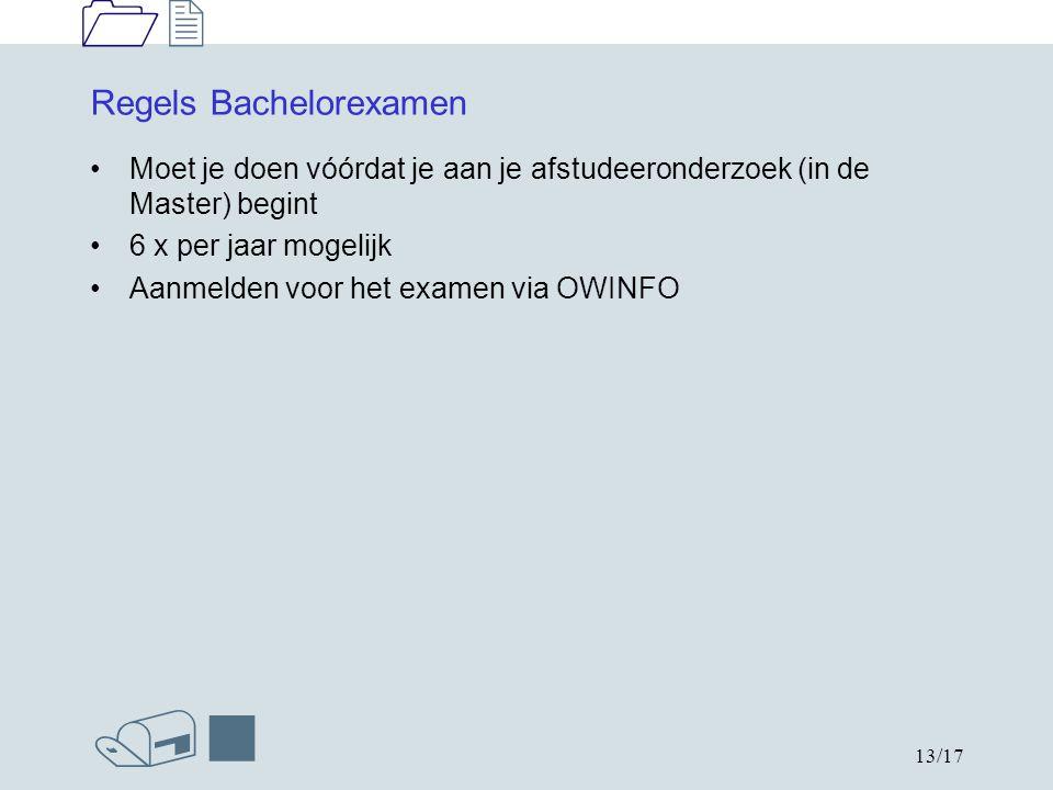 1212 /n 13/17 Regels Bachelorexamen Moet je doen vóórdat je aan je afstudeeronderzoek (in de Master) begint 6 x per jaar mogelijk Aanmelden voor het examen via OWINFO