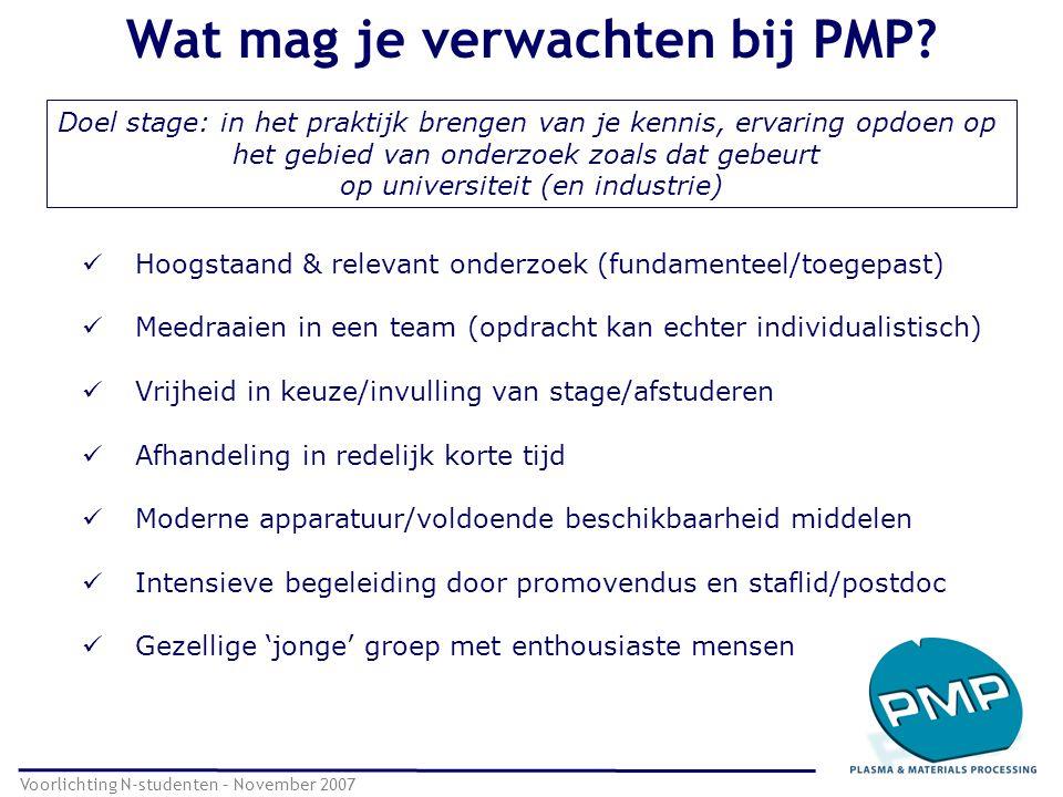 Wat mag je verwachten bij PMP? Voorlichting N-studenten – November 2007 Hoogstaand & relevant onderzoek (fundamenteel/toegepast) Meedraaien in een tea