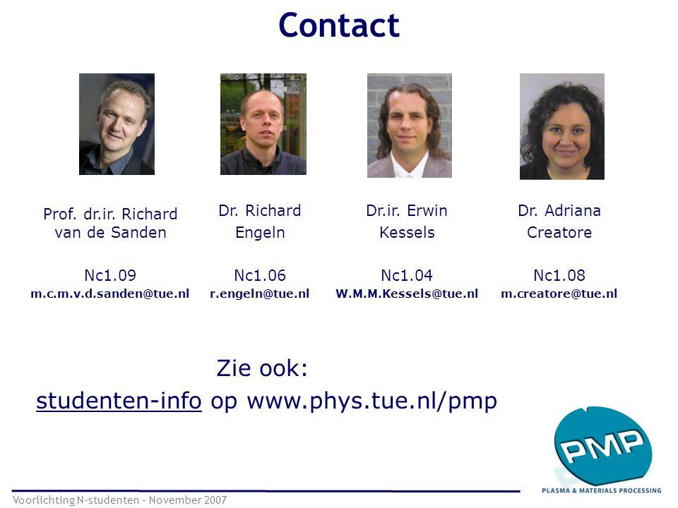 Contact Voorlichting N-studenten – November 2007 Prof. dr.ir. Richard van de Sanden Nc1.09 m.c.m.v.d.sanden@tue.nl Dr. Richard Engeln Nc1.06 r.engeln@