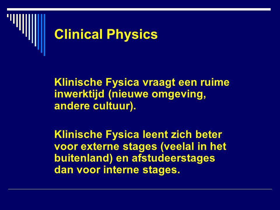 Clinical Physics Klinische Fysica vraagt een ruime inwerktijd (nieuwe omgeving, andere cultuur).