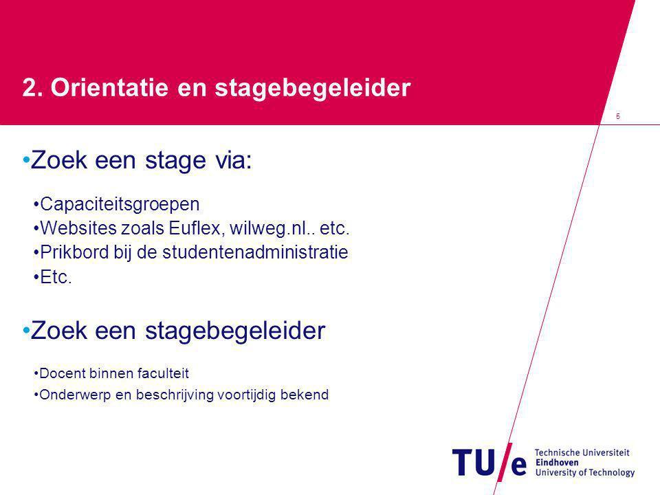 5 2. Orientatie en stagebegeleider Zoek een stage via: Capaciteitsgroepen Websites zoals Euflex, wilweg.nl.. etc. Prikbord bij de studentenadministrat