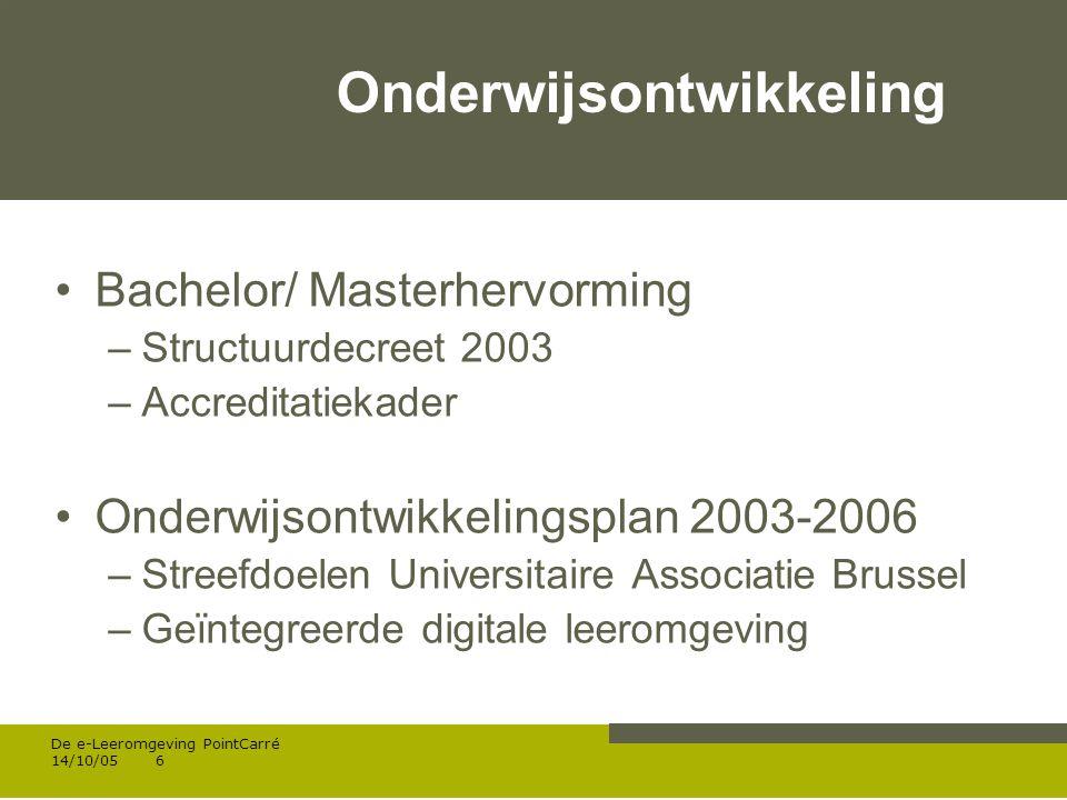 Werken met portfolio s 04/10/05 | pag.7 De e-Leeromgeving PointCarré 14/10/057 3.