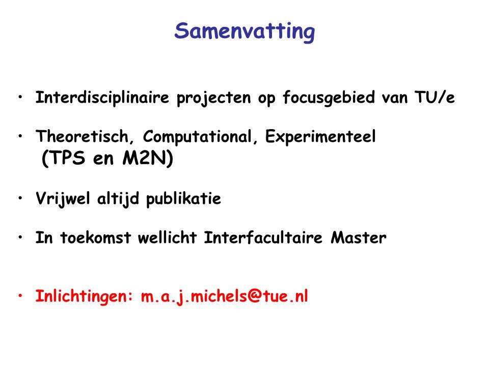 Samenvatting Interdisciplinaire projecten op focusgebied van TU/e Theoretisch, Computational, Experimenteel (TPS en M2N) Vrijwel altijd publikatie In