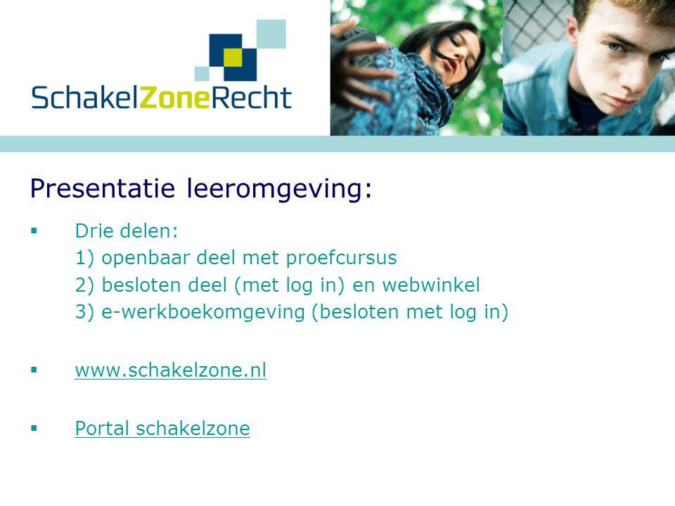  Drie delen: 1) openbaar deel met proefcursus 2) besloten deel (met log in) en webwinkel 3) e-werkboekomgeving (besloten met log in)  www.schakelzon