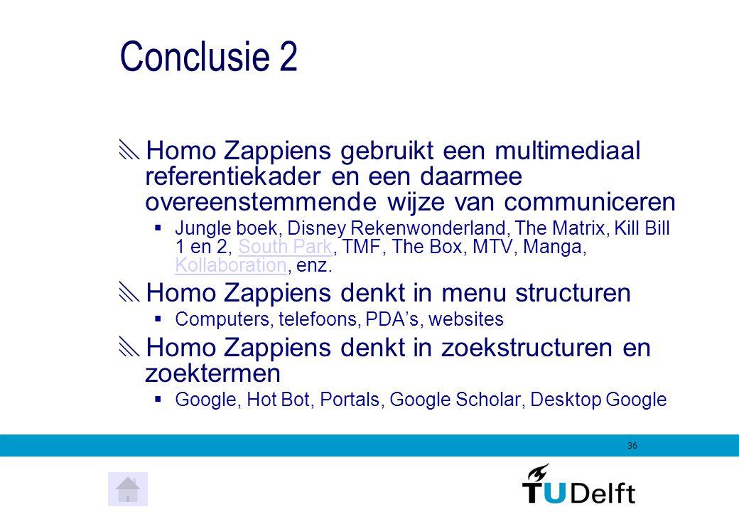 35 Conclusie 1  Homo Zappiens ontwikkelt repertoire van metacognitieve vaardigheden:  Onderzoekend leren: waar gaat het om.