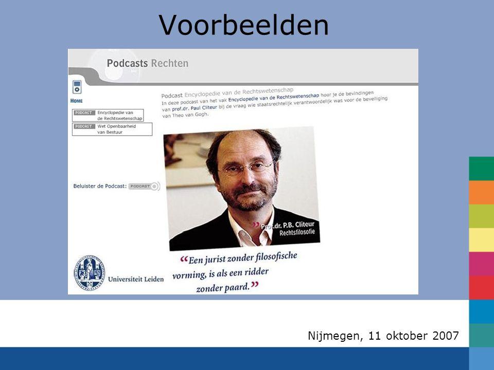 Nijmegen, 11 oktober 2007 Voorbeelden