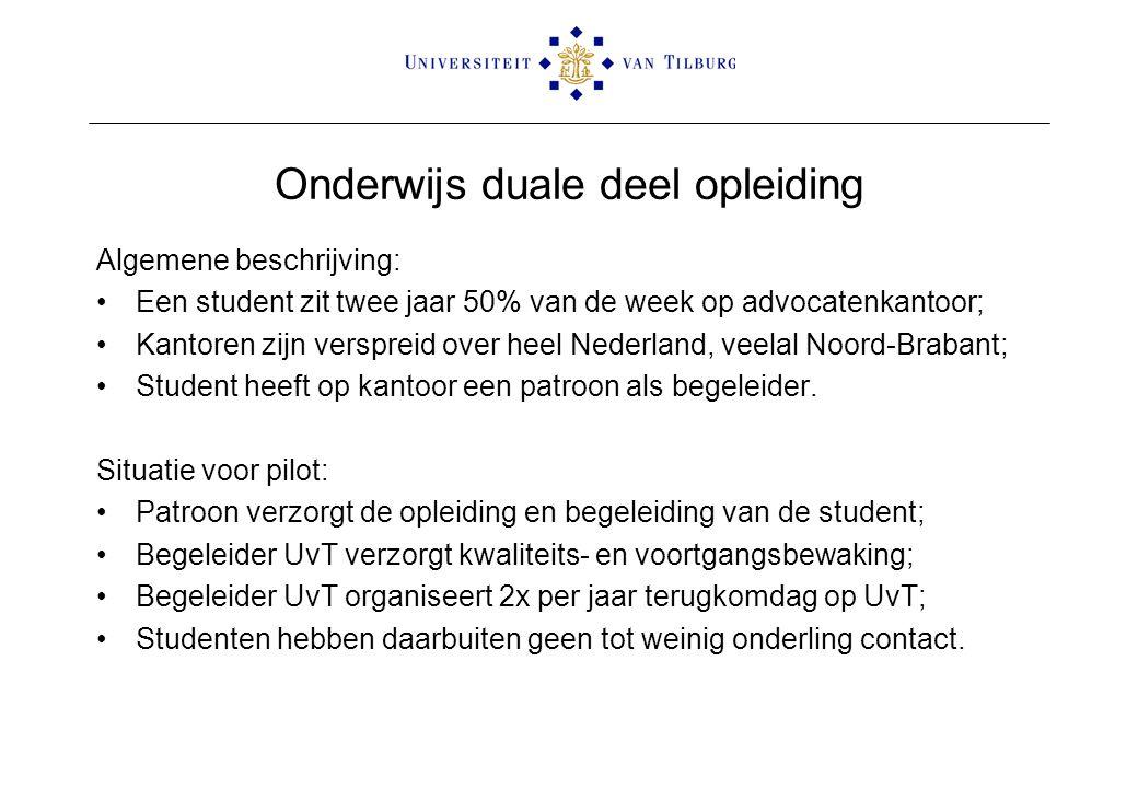 Onderwijs duale deel opleiding Algemene beschrijving: Een student zit twee jaar 50% van de week op advocatenkantoor; Kantoren zijn verspreid over heel