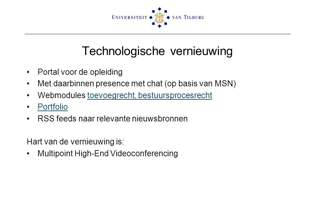 Technologische vernieuwing Portal voor de opleiding Met daarbinnen presence met chat (op basis van MSN) Webmodules toevoegrecht, bestuursprocesrechtto