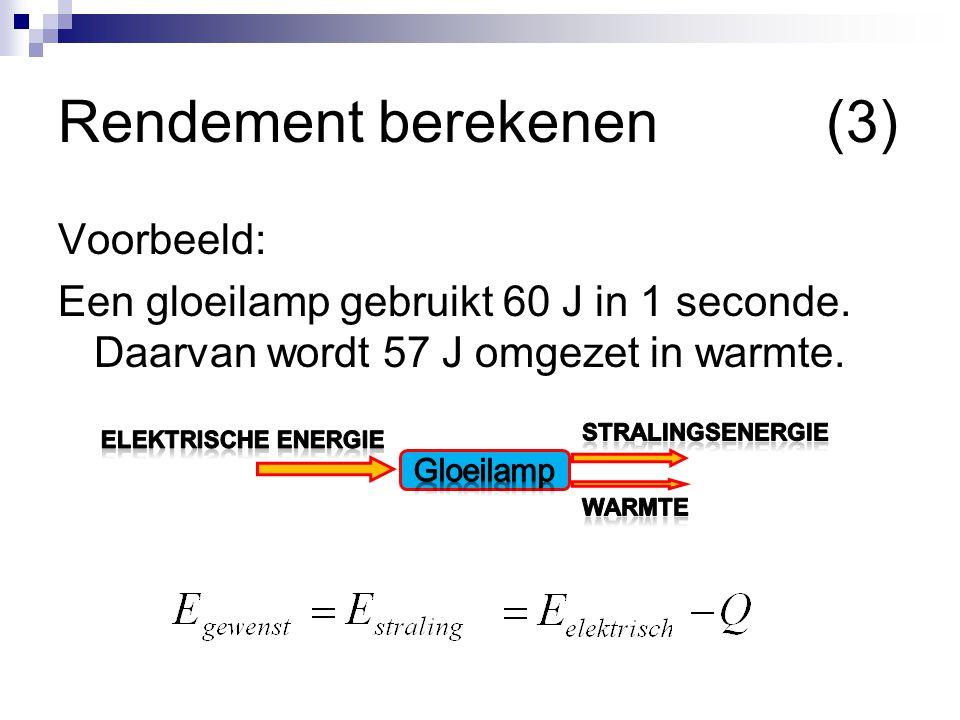 Rendement berekenen (3) Voorbeeld: Een gloeilamp gebruikt 60 J in 1 seconde. Daarvan wordt 57 J omgezet in warmte.