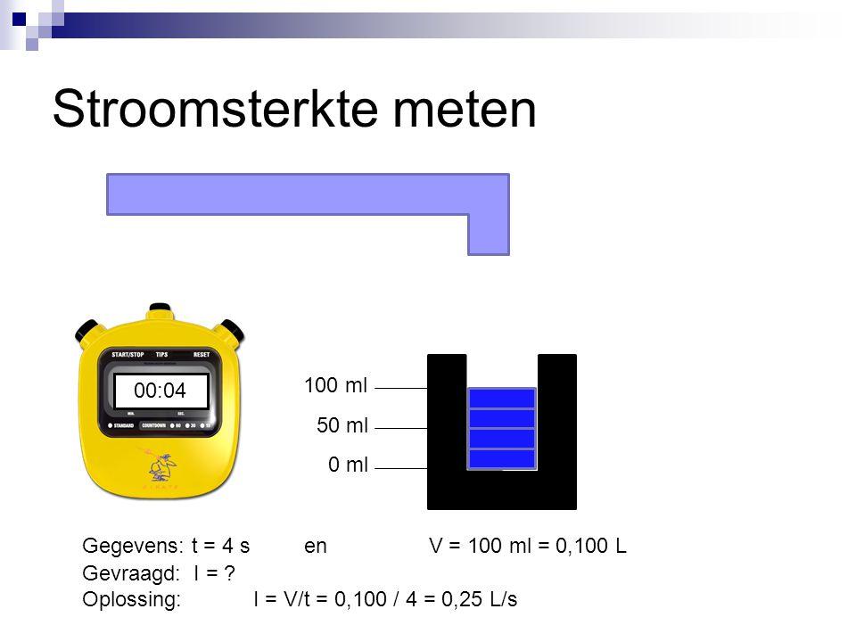 Stroomsterkte meten 50 ml 100 ml 0 ml 00:0000:0100:0200:0300:04 Gegevens: t = 4 s en V = 100 ml = 0,100 L Gevraagd: I = ? Oplossing:I = V/t = 0,100 /