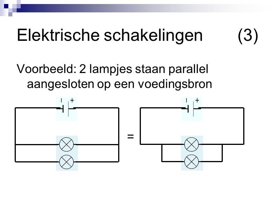 Elektrische schakelingen(3) Voorbeeld: 2 lampjes staan parallel aangesloten op een voedingsbron =