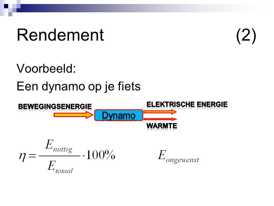 Rendement(2) Voorbeeld: Een dynamo op je fiets