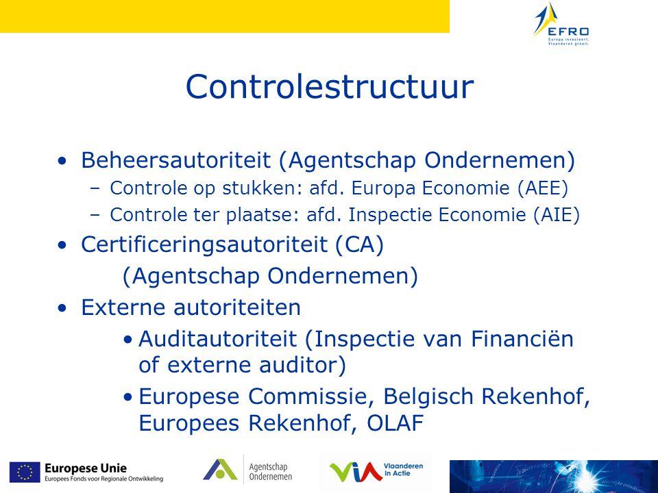 Controlestructuur Beheersautoriteit (Agentschap Ondernemen) –Controle op stukken: afd.