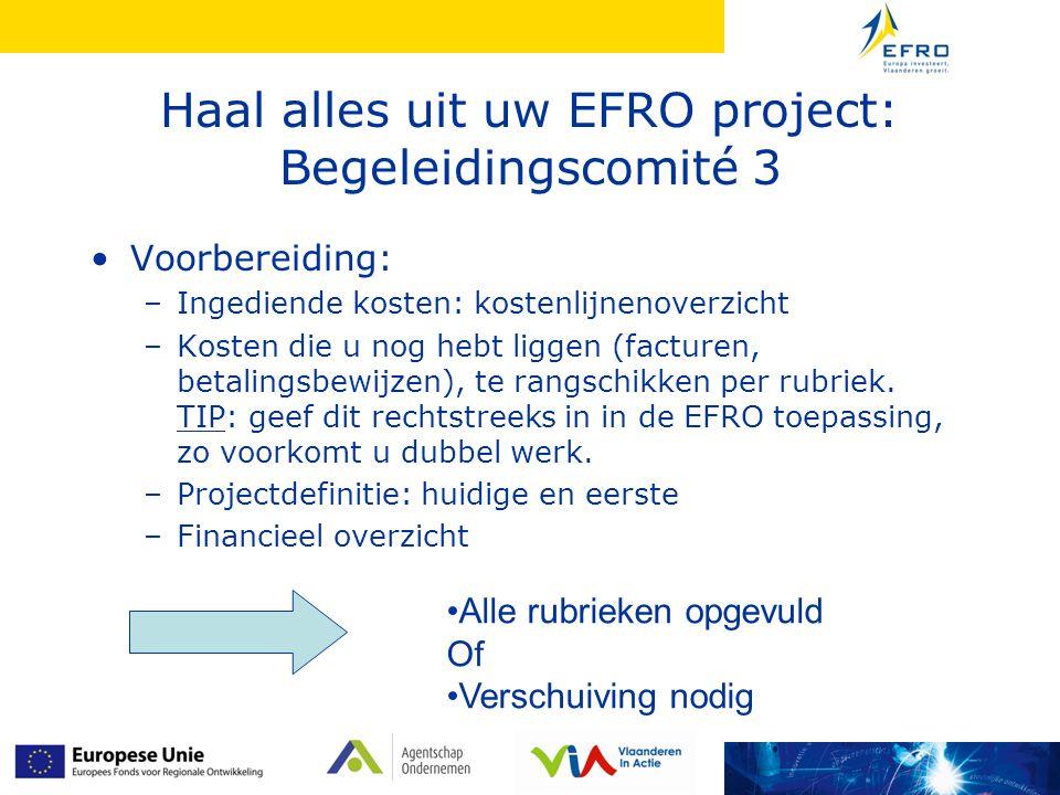 Haal alles uit uw EFRO project: Begeleidingscomité 3 Voorbereiding: –Ingediende kosten: kostenlijnenoverzicht –Kosten die u nog hebt liggen (facturen, betalingsbewijzen), te rangschikken per rubriek.
