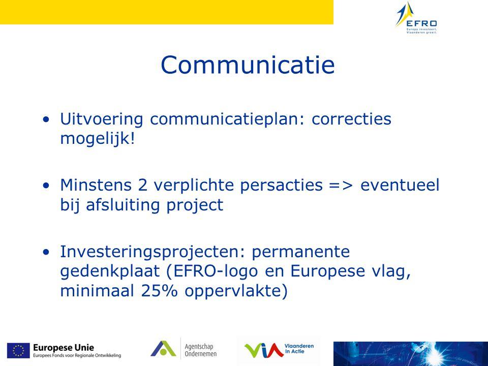 Communicatie Uitvoering communicatieplan: correcties mogelijk.
