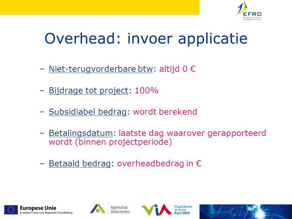 Overhead: invoer applicatie –Niet-terugvorderbare btw: altijd 0 € –Bijdrage tot project: 100% –Subsidiabel bedrag: wordt berekend –Betalingsdatum: laa