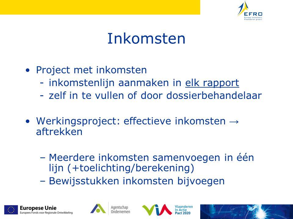 Inkomsten Project met inkomsten -inkomstenlijn aanmaken in elk rapport -zelf in te vullen of door dossierbehandelaar Werkingsproject: effectieve inkom