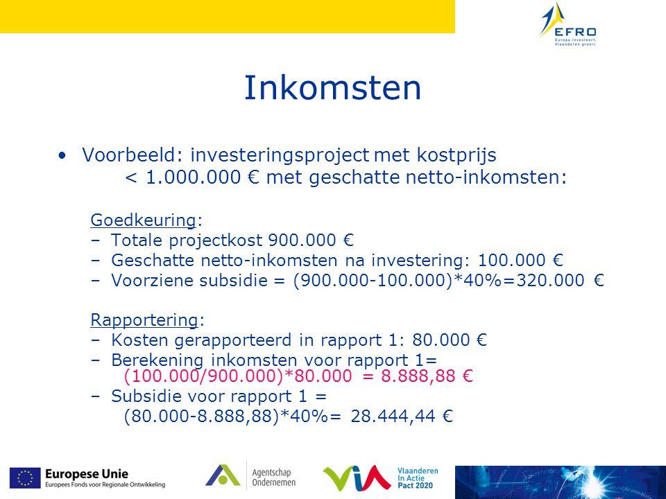 Inkomsten Voorbeeld: investeringsproject met kostprijs < 1.000.000 € met geschatte netto-inkomsten: Goedkeuring: –Totale projectkost 900.000 € –Gescha
