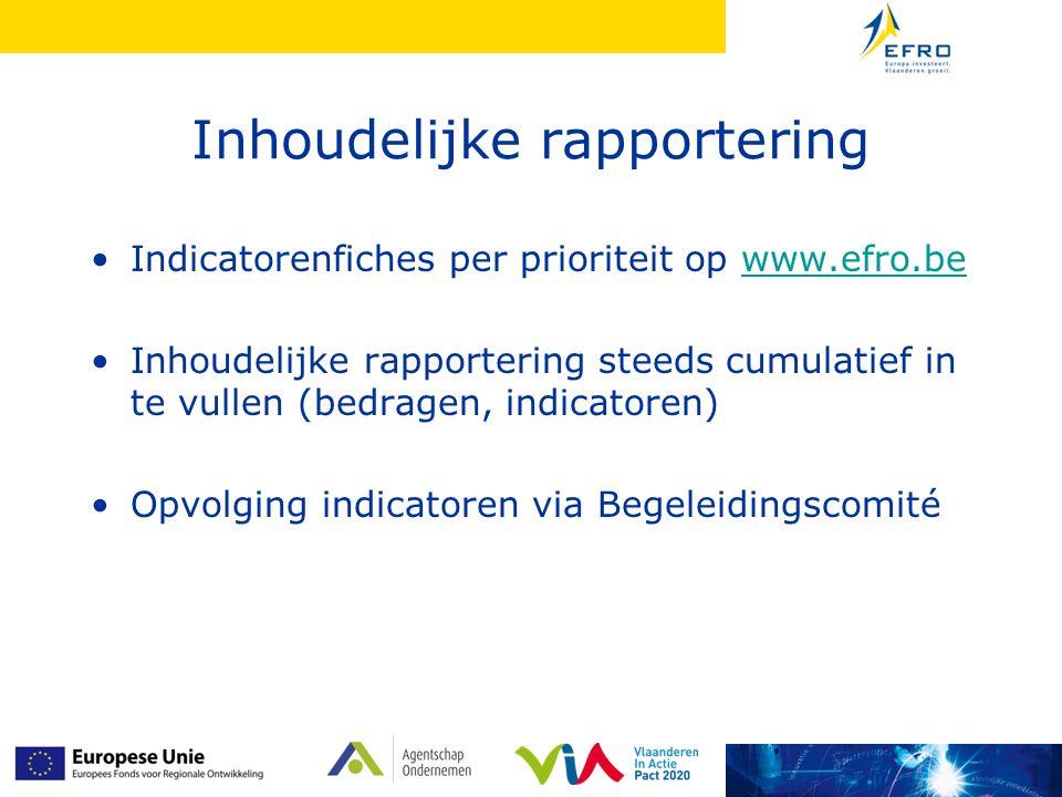 Inhoudelijke rapportering Indicatorenfiches per prioriteit op www.efro.bewww.efro.be Inhoudelijke rapportering steeds cumulatief in te vullen (bedrage