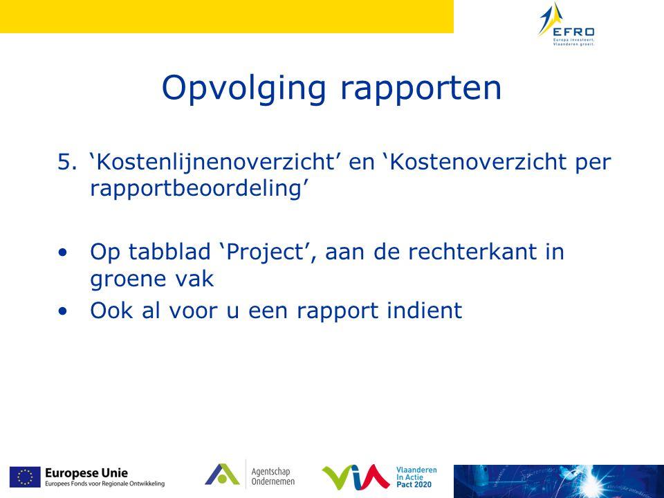 Opvolging rapporten 5.'Kostenlijnenoverzicht' en 'Kostenoverzicht per rapportbeoordeling' Op tabblad 'Project', aan de rechterkant in groene vak Ook a
