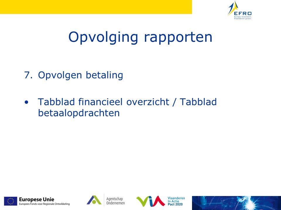 Opvolging rapporten 7.Opvolgen betaling Tabblad financieel overzicht / Tabblad betaalopdrachten