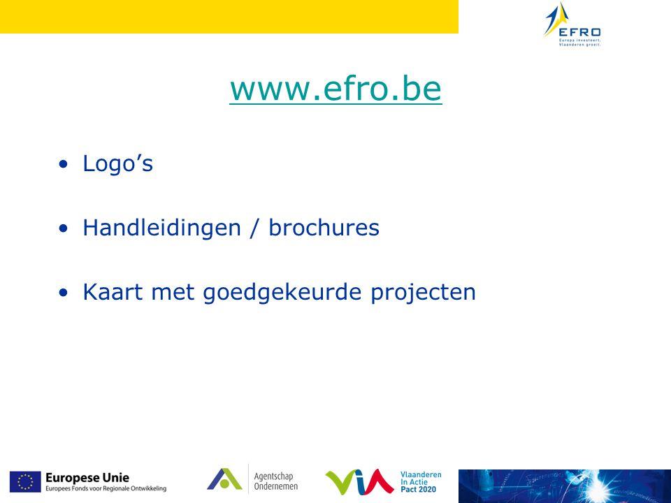 www.efro.be Logo's Handleidingen / brochures Kaart met goedgekeurde projecten