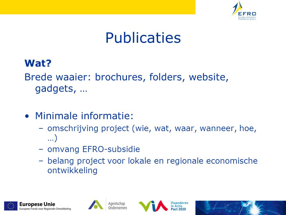 Publicaties Wat? Brede waaier: brochures, folders, website, gadgets, … Minimale informatie: –omschrijving project (wie, wat, waar, wanneer, hoe, …) –o