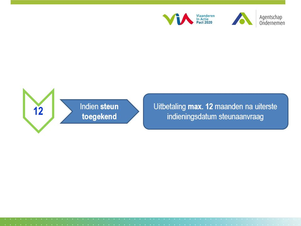 12 Indien steun toegekend Uitbetaling max. 12 maanden na uiterste indieningsdatum steunaanvraag
