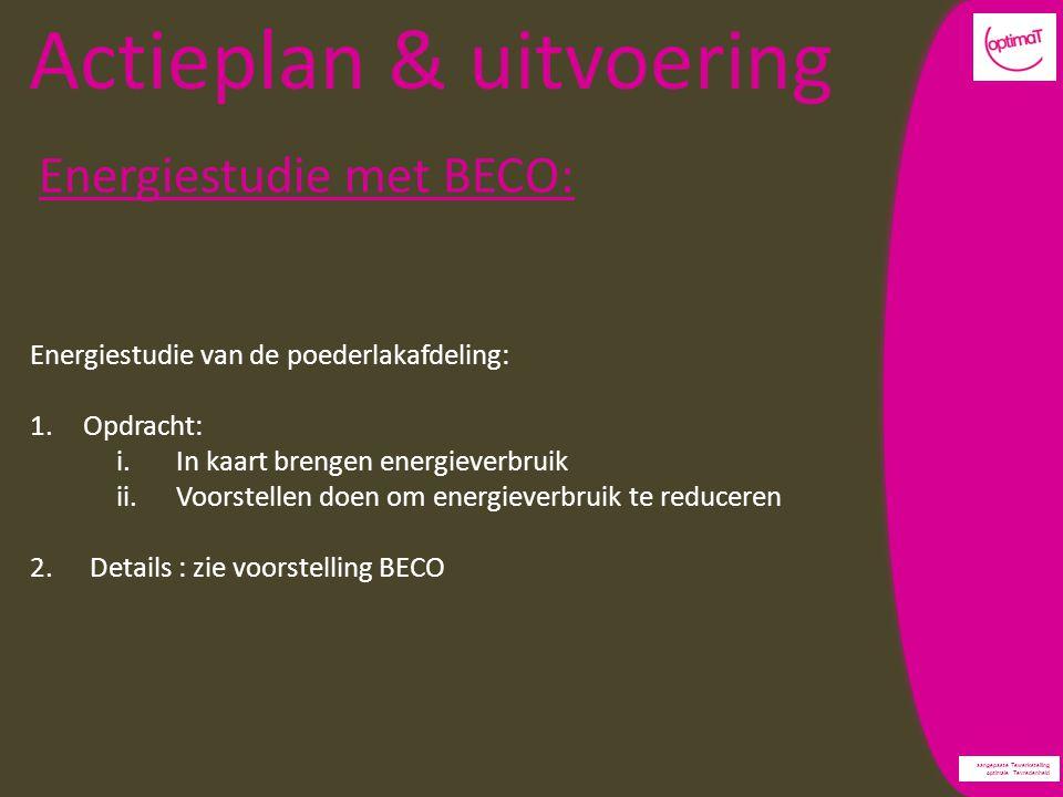 aangepaste Tewerkstelling optimale Tevredenheid Actieplan & uitvoering Energiestudie met BECO: Energiestudie van de poederlakafdeling: 1.Opdracht: i.In kaart brengen energieverbruik ii.Voorstellen doen om energieverbruik te reduceren 2.Details : zie voorstelling BECO