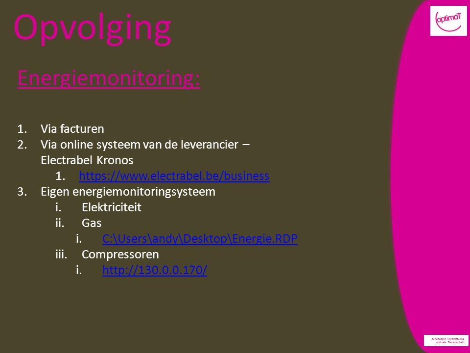 aangepaste Tewerkstelling optimale Tevredenheid Opvolging Energiemonitoring: 1.Via facturen 2.Via online systeem van de leverancier – Electrabel Kronos 1.https://www.electrabel.be/businesshttps://www.electrabel.be/business 3.Eigen energiemonitoringsysteem i.Elektriciteit ii.Gas i.C:\Users\andy\Desktop\Energie.RDPC:\Users\andy\Desktop\Energie.RDP iii.Compressoren i.http://130.0.0.170/http://130.0.0.170/