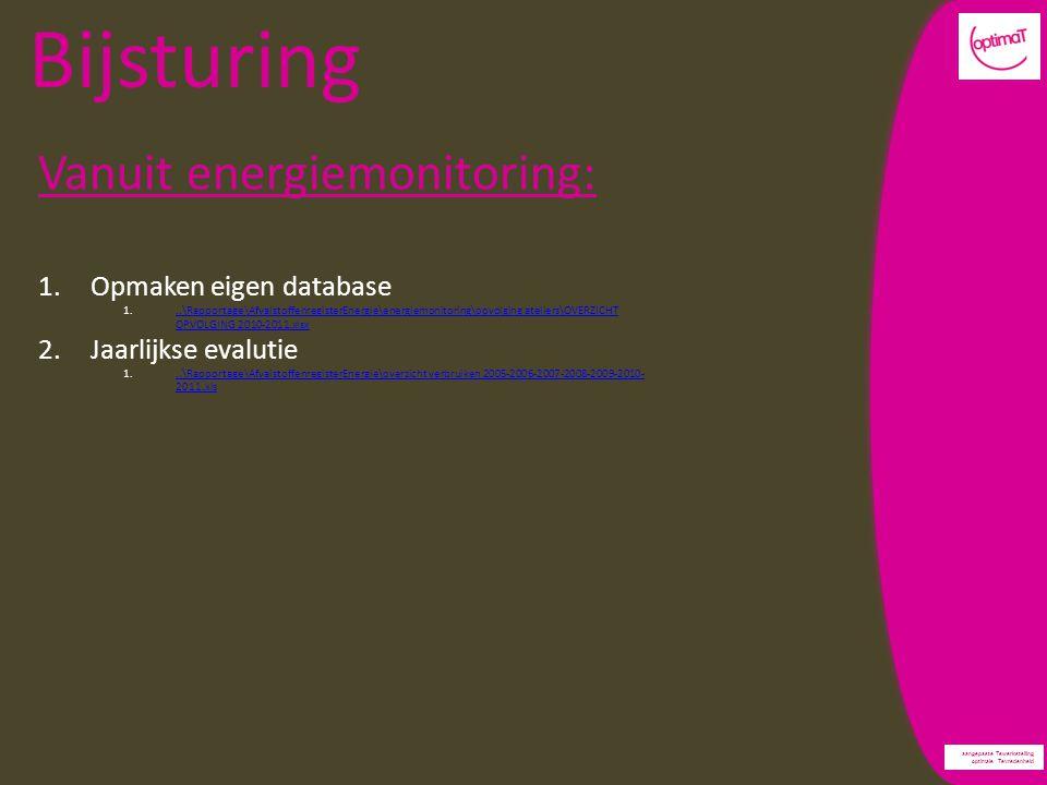 aangepaste Tewerkstelling optimale Tevredenheid Bijsturing Vanuit energiemonitoring: 1.Opmaken eigen database 1...\Rapportage\AfvalstoffenregisterEnergie\energiemonitoring\opvolging ateliers\OVERZICHT OPVOLGING 2010-2011.xlsx..\Rapportage\AfvalstoffenregisterEnergie\energiemonitoring\opvolging ateliers\OVERZICHT OPVOLGING 2010-2011.xlsx 2.Jaarlijkse evalutie 1...\Rapportage\AfvalstoffenregisterEnergie\overzicht verbruiken 2005-2006-2007-2008-2009-2010- 2011.xls..\Rapportage\AfvalstoffenregisterEnergie\overzicht verbruiken 2005-2006-2007-2008-2009-2010- 2011.xls