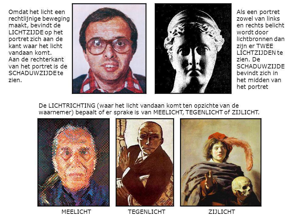 Omdat het licht een rechtlijnige beweging maakt, bevindt de LICHTZIJDE op het portret zich aan de kant waar het licht vandaan komt. Aan de rechterkant