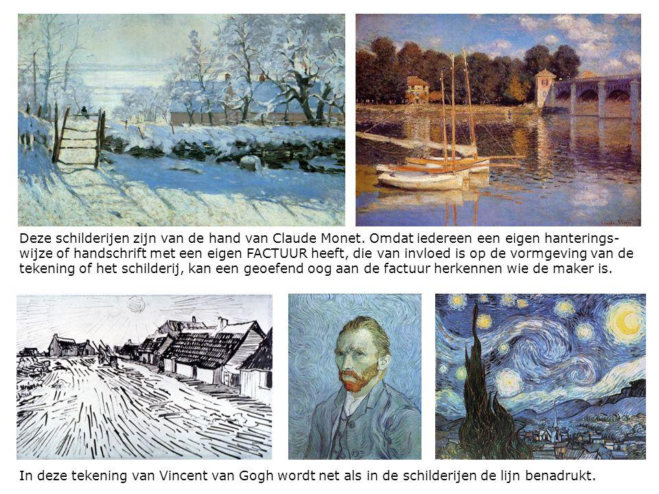 In deze tekening van Vincent van Gogh wordt net als in de schilderijen de lijn benadrukt. Deze schilderijen zijn van de hand van Claude Monet. Omdat i