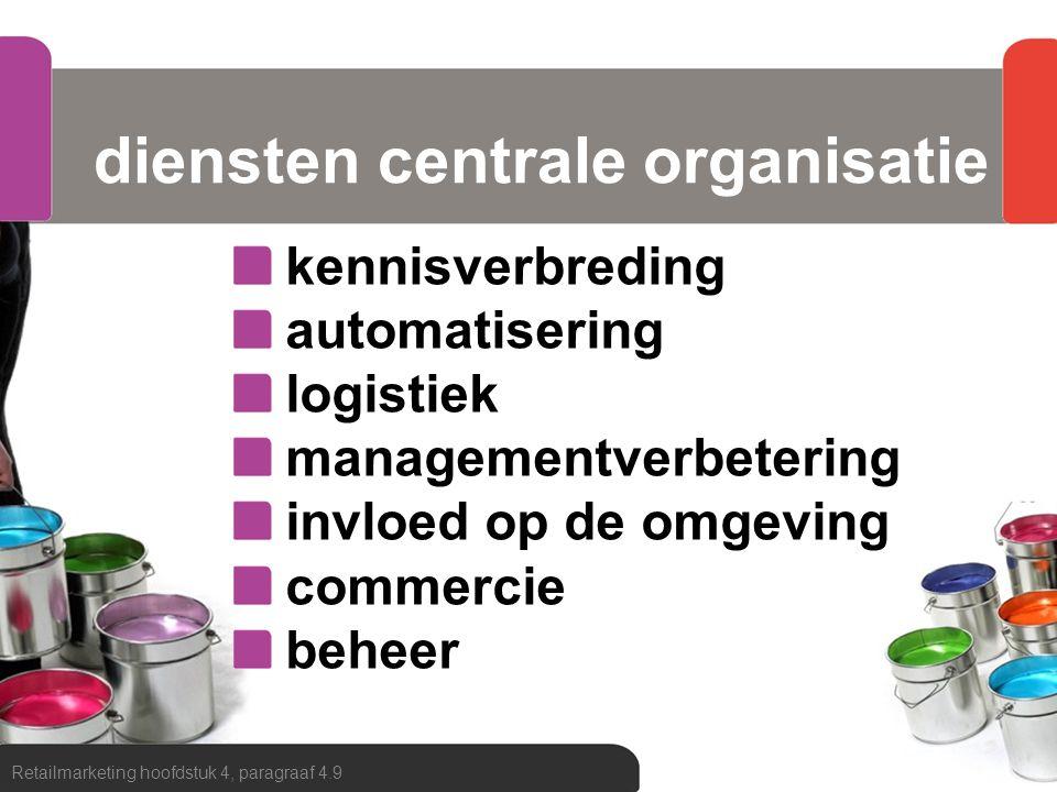 diensten centrale organisatie kennisverbreding automatisering logistiek managementverbetering invloed op de omgeving commercie beheer Retailmarketing