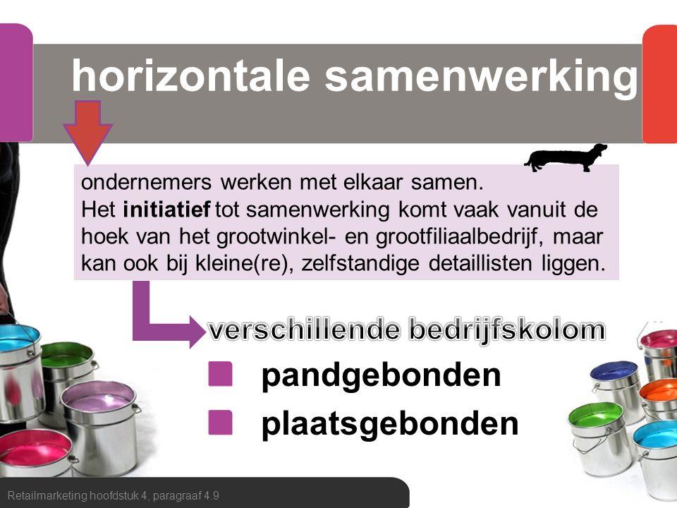 horizontale samenwerking Retailmarketing hoofdstuk 4, paragraaf 4.9 ondernemers werken met elkaar samen. Het initiatief tot samenwerking komt vaak van