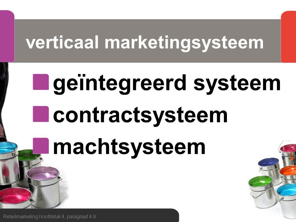 verticaal marketingsysteem geïntegreerd systeem contractsysteem machtsysteem Retailmarketing hoofdstuk 4, paragraaf 4.9