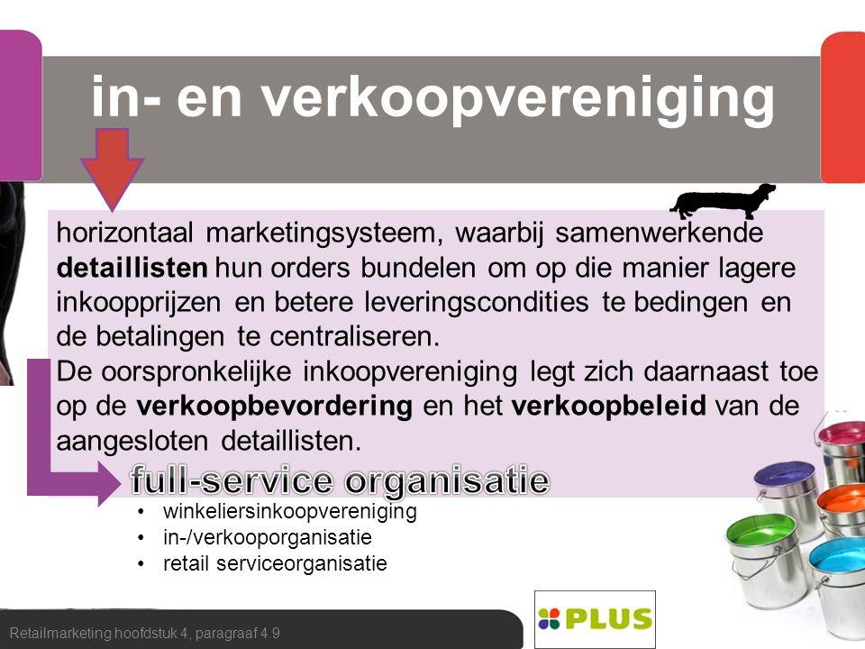 in- en verkoopvereniging Retailmarketing hoofdstuk 4, paragraaf 4.9 horizontaal marketingsysteem, waarbij samenwerkende detaillisten hun orders bundel