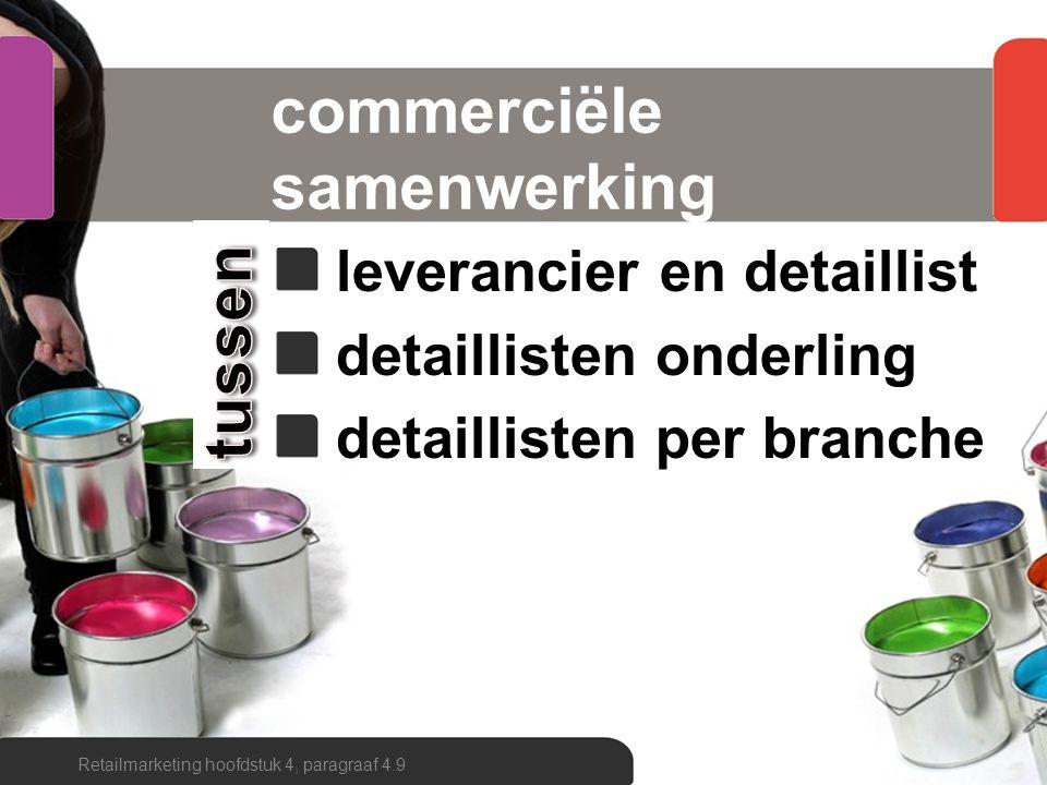 commercieel samenwerken informeel en formeel horizontaal en verticaal intensief of extensief branchegewijs of plaatsgebonden Retailmarketing hoofdstuk 4, paragraaf 4.9