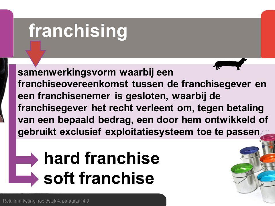franchising Retailmarketing hoofdstuk 4, paragraaf 4.9 samenwerkingsvorm waarbij een franchiseovereenkomst tussen de franchisegever en een franchisene