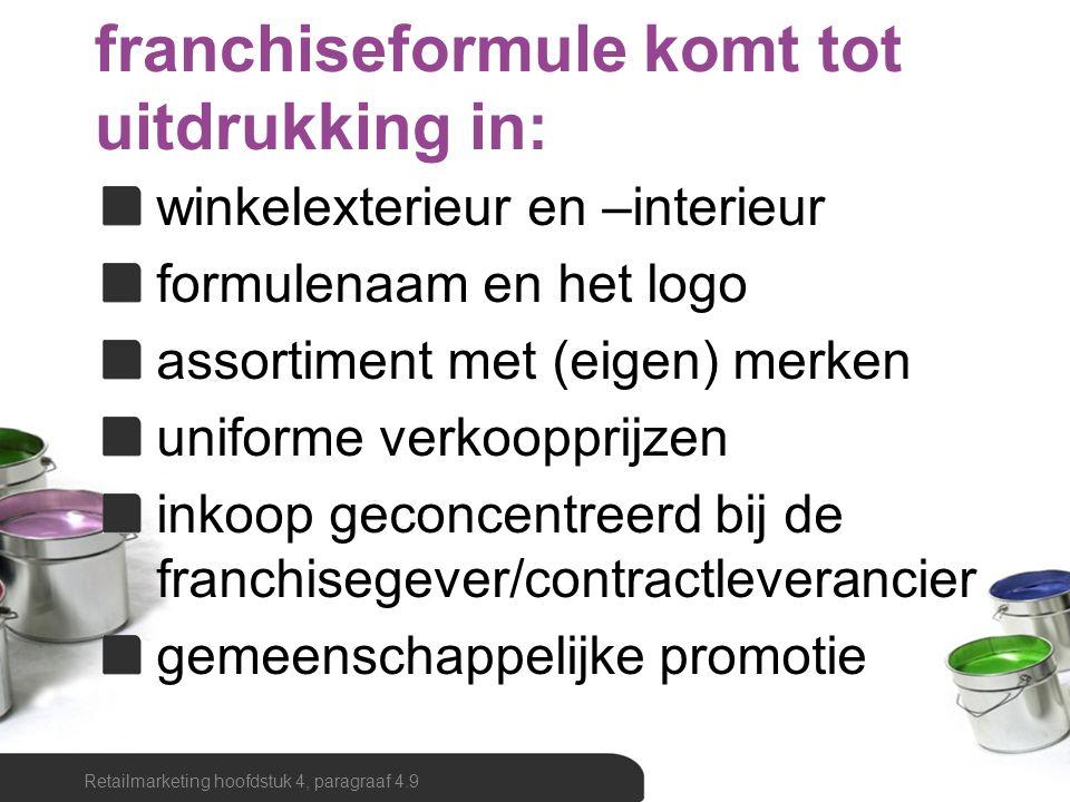 Retailmarketing hoofdstuk 4, paragraaf 4.9 franchiseformule komt tot uitdrukking in: winkelexterieur en –interieur formulenaam en het logo assortiment