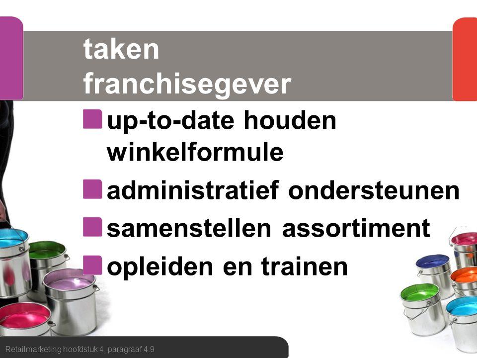 taken franchisegever up-to-date houden winkelformule administratief ondersteunen samenstellen assortiment opleiden en trainen Retailmarketing hoofdstu