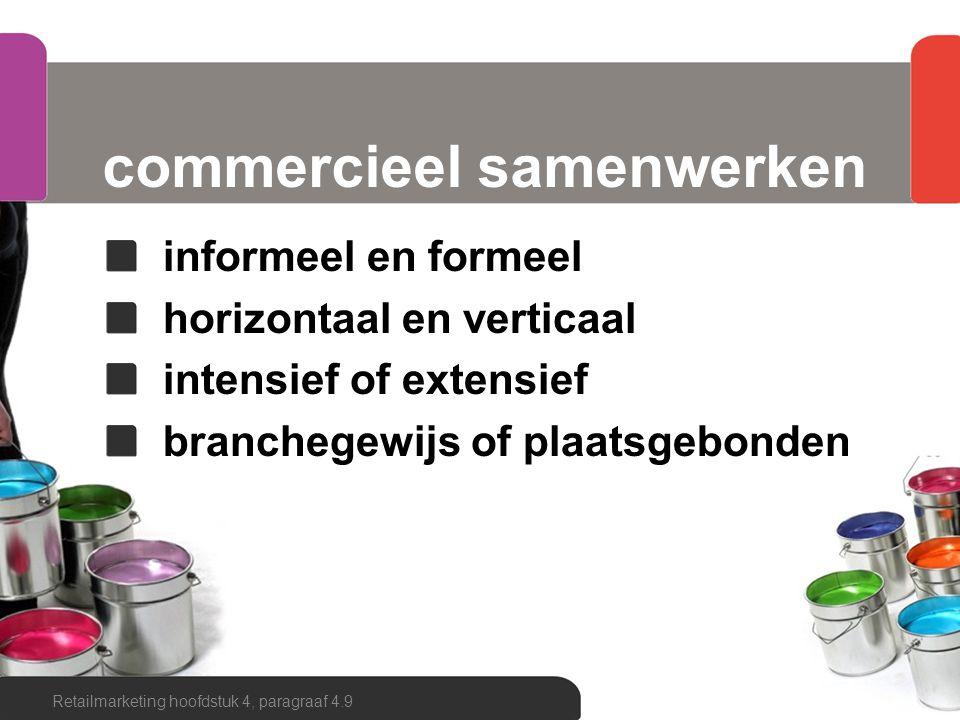 commercieel samenwerken op gebied van: inkoop winkelformule de handelsnaam de commerciële presentatie (intern en extern) de assortimentssamenstelling de geadviseerde prijsstelling Retailmarketing hoofdstuk 4, paragraaf 4.9