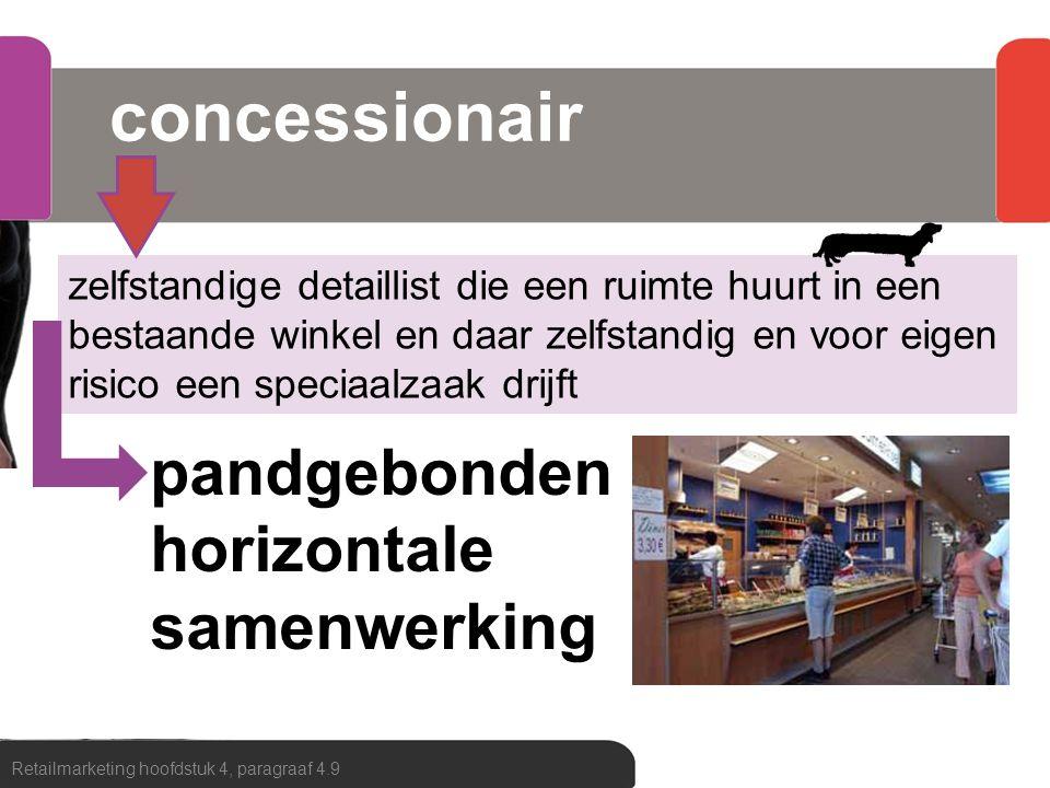 concessionair Retailmarketing hoofdstuk 4, paragraaf 4.9 zelfstandige detaillist die een ruimte huurt in een bestaande winkel en daar zelfstandig en v