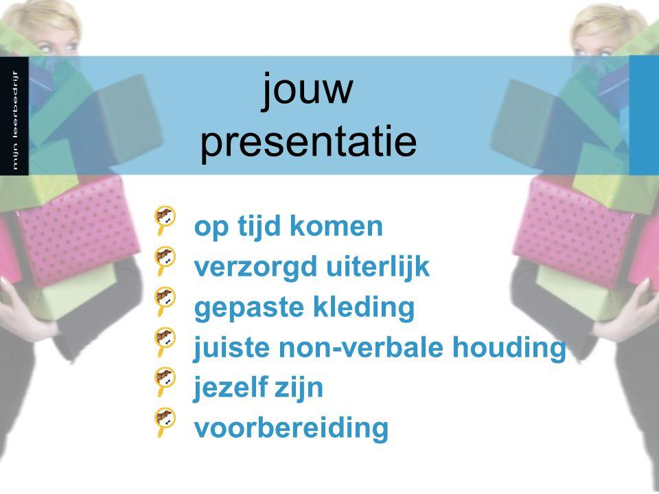 jouw presentatie op tijd komen verzorgd uiterlijk gepaste kleding juiste non-verbale houding jezelf zijn voorbereiding