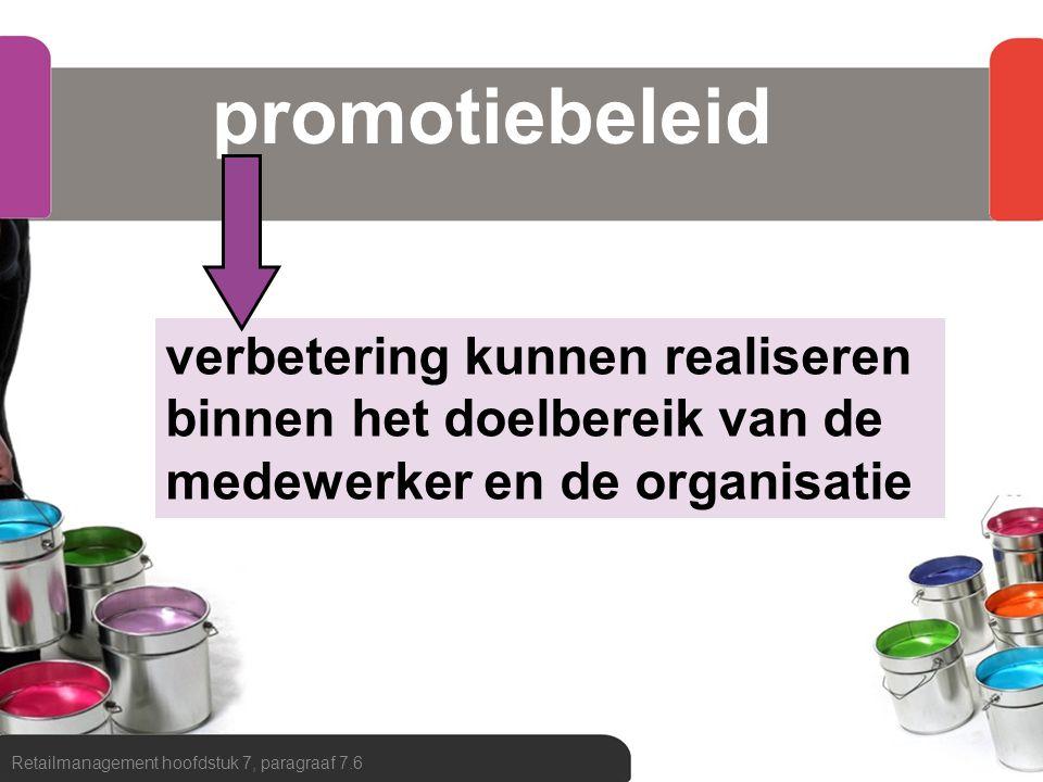 promotiebeleid Retailmanagement hoofdstuk 7, paragraaf 7.6 verbetering kunnen realiseren binnen het doelbereik van de medewerker en de organisatie