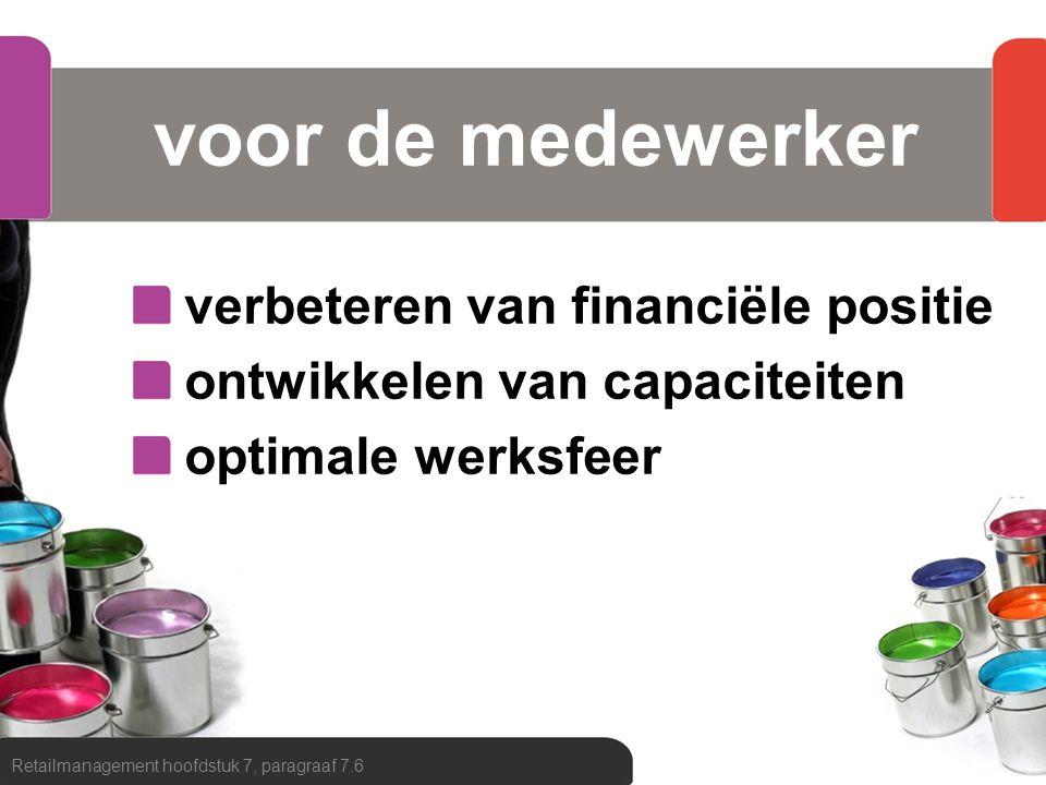 voor de medewerker verbeteren van financiële positie ontwikkelen van capaciteiten optimale werksfeer Retailmanagement hoofdstuk 7, paragraaf 7.6