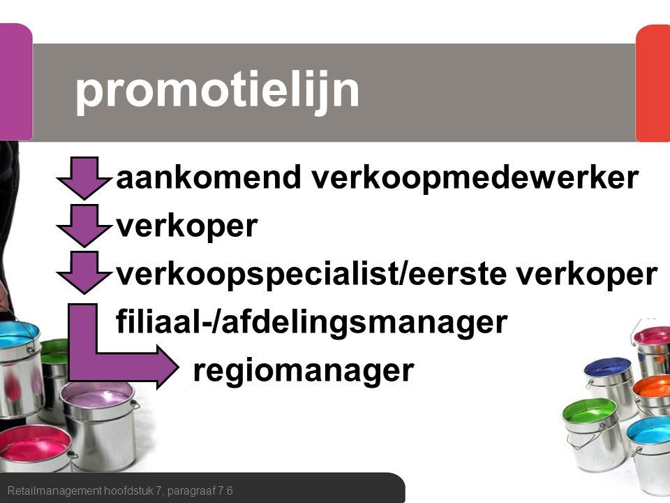 promotielijn aankomend verkoopmedewerker verkoper verkoopspecialist/eerste verkoper filiaal-/afdelingsmanager regiomanager Retailmanagement hoofdstuk